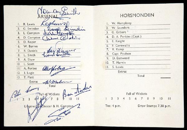 arsenal vs horsmonden festival of britain signed scorecard